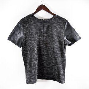 LOFT Heathered Grey Shirt, Faux Leather Sleeves